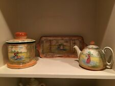 Royal doulton Bluebell Gatherers Trio (Teapot, Platter and Tobacco Jar)