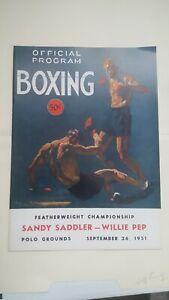 Vintage Boxing Program. Sandy Saddler v Willie Pep. 1951. Polo Grounds.