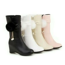 Womens Mid Hidden Mid Calf Riding Boots Wedge Heels Round Toe Pompom Shoes Plus