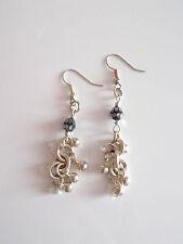 Earring Long Boucle d'Oreille Pendante Perle Pampille Boule Argent Silver 925