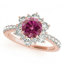 1.32 Carat Pink Diamond Halo Solitaire Ring 14k Rose Gold Valentineday Spl. Sale