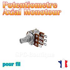 3x Potentiomètre stéréo logarithmique Axial 50KΩ (A50K), pour fil a soudé