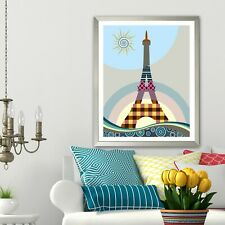 Art Print Eiffel Tower Statue Wall Decor Paris France Poster Painting Picture