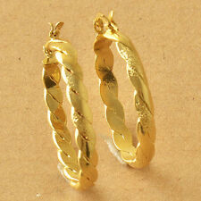 "Awesome New 9K Solid Yellow Gold Filled 1.25"" Oval Braided Twist Hoop Earrings"