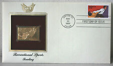 First Day of Issue Recreational Sports Bowling 22kt Gold Replica Stamp #96