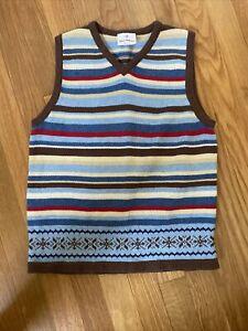 Hanna Andersson Boys 130 Brown Fair Isle Sweater Vest & Shirt 8
