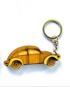 Keychain Car Key tag Wooden Handmade Key Ring Old Vehicle Modern Handcraft Gift