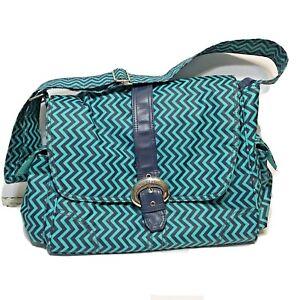 Kalencom Coated Diaper Bag Blue Teal Multi Pocket With Bottle Bag Chevron