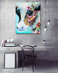 """Abstract Art Home Wall Decor Flowers Cow Stare 12x16"""" Painting Canvas NO Frame"""