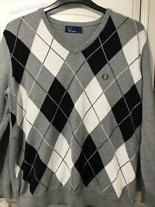 Fred Perry Grey Argyle Jumper Size Large