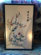 Vintage Oriental Glazed Embroidered Silk Picture Depicting Birds