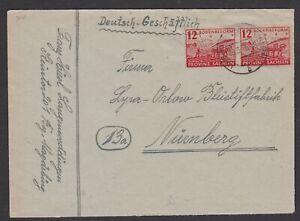 Germany. Soviet Zone. Saxony. Cover to Nurnberg. Sent 28/3/1946