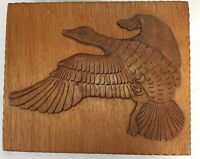 Vintage midcentury Carved wood flying Duck 50s-60s wall decor plaque picture art