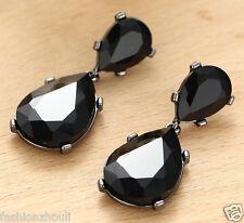 Long Ear Stud Hoop earrings 192 Handmade Black Crystal Rhinestone Silver Plated