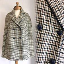 TOPSHOP Heritage Houndstooth Check Sherlock Wool Blend Cape Coat M 40-42 8-10