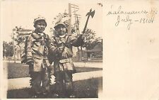 B28/ Native American Indian Postcard Holdenville Oklahoma Boys c1910 Costumes 16