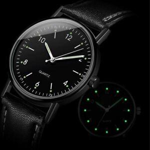 Men's/Youth's: Designer, Slim Black Dial & Strap, Luminous Night Vision Watch
