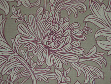 "WILLIAM MORRIS CURTAIN FABRIC  ""Chrysanthemum Toile"" 3.35 METRES WINE/LINEN"