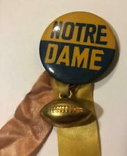 Vtg Pin Button Pinback Notre Dame Football Pin with Ribbons