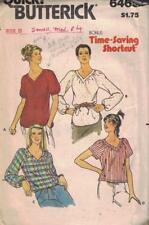 Butterick 6465 Misses Loose fitting Tops V Neck Raglan Sleeves Size S-M-L Vtg