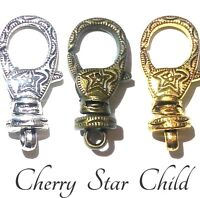 Gold silver bronze large embossed lobster star clasp with swivel base 360