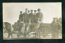 RPPC Coyote hunt Wolf Men HUNTING rifle Horse Drawn Wagon real photo RP postcard