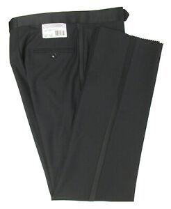 New Men's Black Tuxedo Pants 100% Wool with Satin Stripe Wedding Mason Cruise
