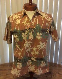 Reyn Spooner VTG Brown Floral Reverse Print Henley Hawaiian Shirt Cotton Blend S