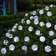 30 LED bianco solare Crystal Globe FAIRY stringa luci sfera di cristallo Albero di Natale