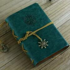 Retro Vintage Leather Bound Blank Page Notebook Note Notepad Journal Diary A WT