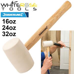 Silverline White Rubber Mallet Hammer Hardwood Shaft Handle 16oz 24oz 32oz DIY