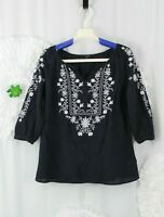 Talbots Tunic Top Size Small Petite Embroidered Yoke Sleeve Peasant Boho Blue