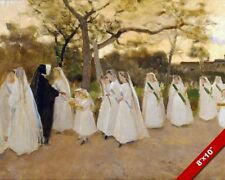 PROCESSION OF CATHOLIC SCHOOL GIRLS FRANCE PAINTING ART REAL CANVAS PRINT