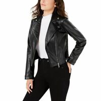 GUESS NEW Women's Faux-leather Embossed Snake Skin Motorcycle Jacket Top XL TEDO