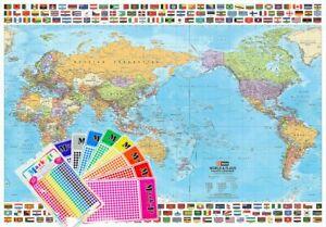 World & Flags Hema Supermap 1430 x 1000mm Laminated Wall Map