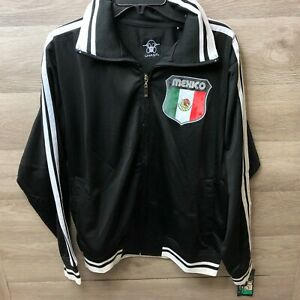 Ghast Mens Size Large Black Striped Mexico Full Zip Jacket NEW