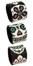"BR602 Day of The Dead Skull Rose Wrap Cuff Czech Glass Seed Beads 7.5"" Guatemala"