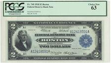Fr 749 1918 $2 Battleship Boston District, PCGS 63 UNC, Rare Banknote