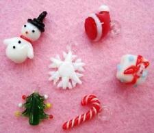 12 Christmas Glass Charm/Bead/tree/snowman/hat/gift/snow flake/Craft/Beading K99