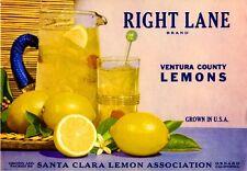 Oxnard Santa Clara Right Lane Lemon Citrus Fruit Crate Label Art Print