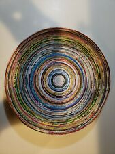 "10.5"" Handmade Colorful Coiled Recycled Paper Magazine Art Bowl Home Table Decor"