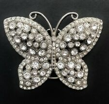 White Rhinestone Glitter Bling Butterfly Belt Buckle Papillon Boucle De Ceinture