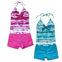 Girls' 2 Pcs Halter Tankini Swimsuit Stripe Tops with Shorts Bottom Bathing Suit