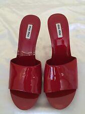 Miu Miu Red Patent Heel Mule Sandal Size 39
