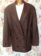 80s Boyfriend Jacket Wool Houndstooth Double Breasted M&S Size 16