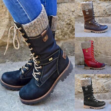Women's Flat Lace Up Mid Calf Boots Ladies Biker Riding Winter Warm Shoes Size