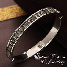 18K White Gold GF Made With Swarovski Crystal Gray Channel-Set Baguette Bangle