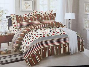 Multicoloured Polka Dots & Stripes Duvet Cover Bedding Set with Pillowcases