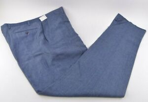 Sartore NWOT Dress / Casual Pants Size 40 US In Solid Blue Linen / Cotton Blend
