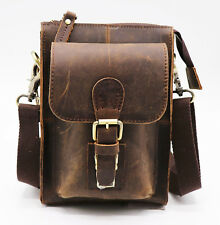 Cowhide Genuine Leather Messenger Case bag } Vintage Retro Hipster Waist Belt